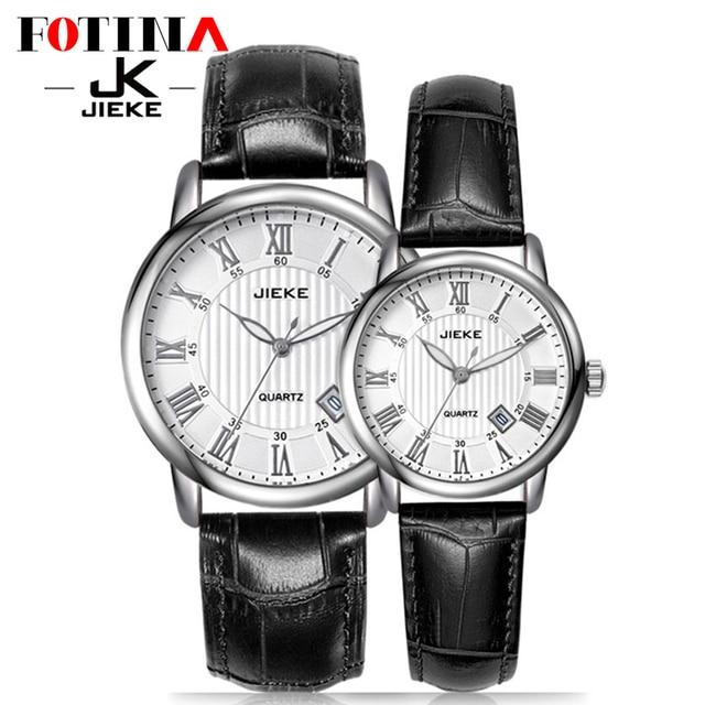 7872866372c FOTINA Fashion Brand JK Lovers Watch Men Women Classic Date Genuine Leather Quartz  Watch Waterproof Wristwatch