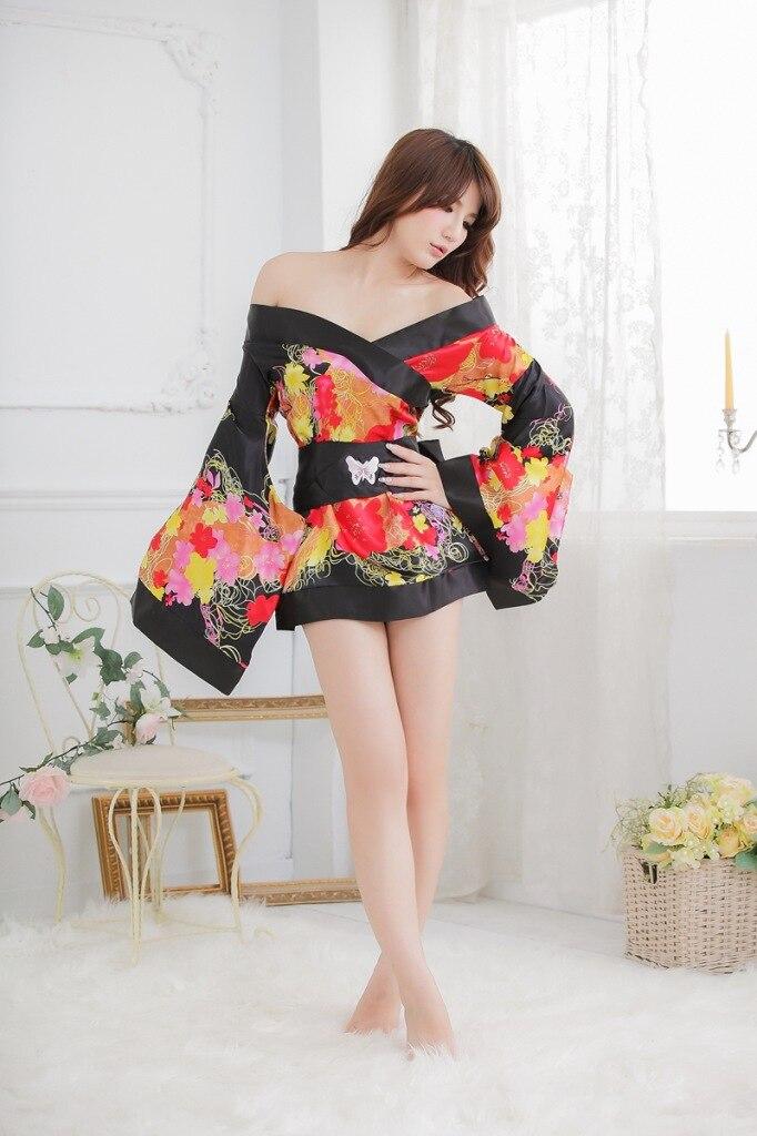 sexy lingerie black yellow flower charm sleepwear for women kimono exotic apparel