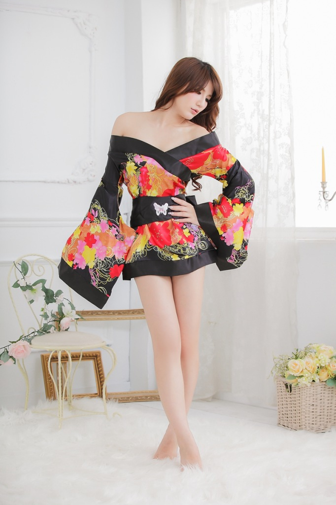 sexy lingerie black&yellow flower charm sleepwear for women kimono exotic apparel