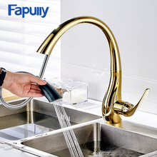 Fapully Kitchen Faucet Pull Out Mixer Gold Black Sink Tap 360 Rotation Swivel Spout Hot Cold Spray Head Kitchen Tap Mixer 166-33 high quality 360 degree swivel spout brushed nickle brass hot cold pull out kitchen faucet mixer tap
