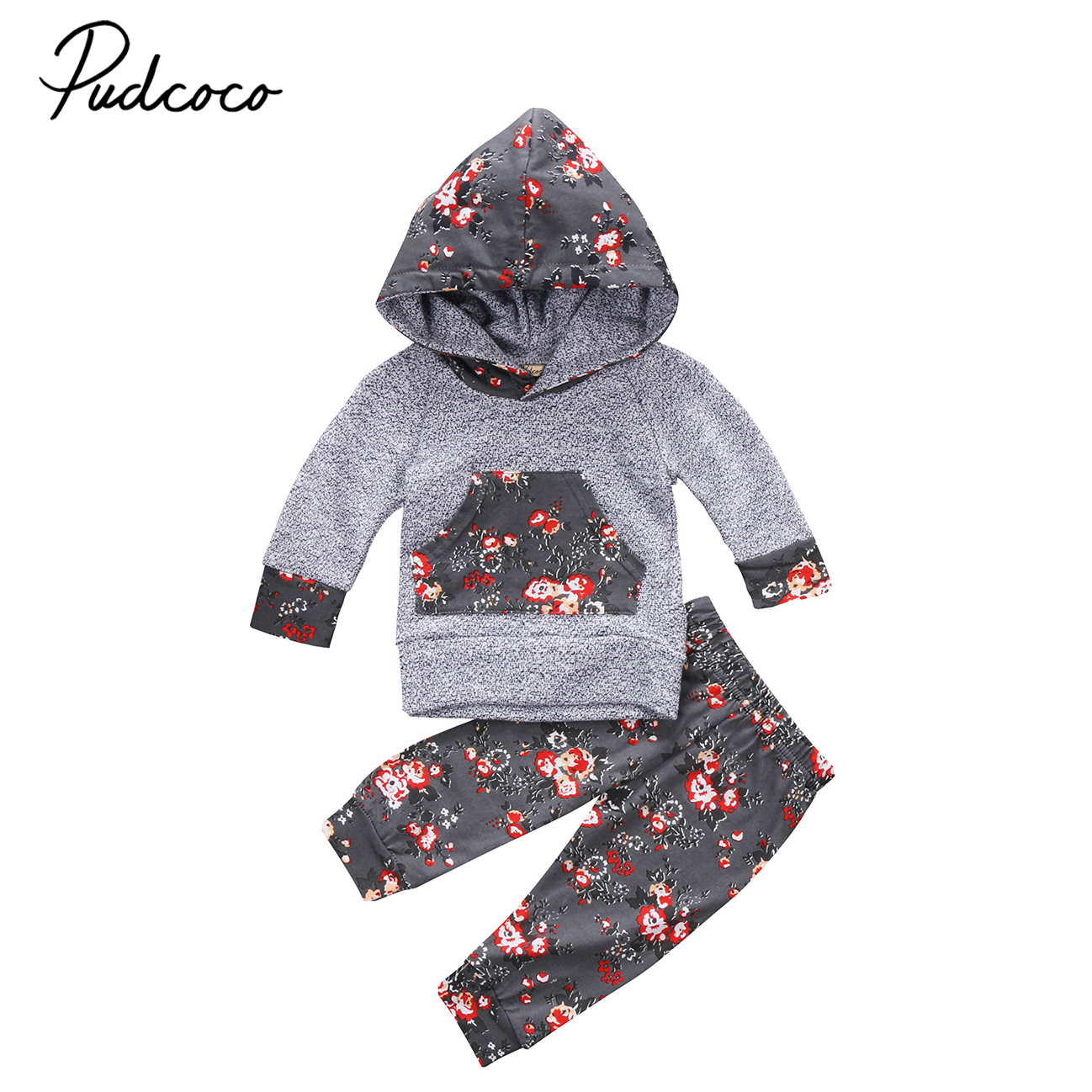 Autumn Newborn Infant Baby Boy Girl Clothes Set Hooded Sweater Coat Tops+Long Pants Leggings 2pcs Outfits