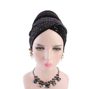Image 2 - 女性ベルベットスパンコール hijabs 帽子イスラム教徒女性カバーインナーターバン帽子スカーフキャップターバン女性のヘアアクセサリー