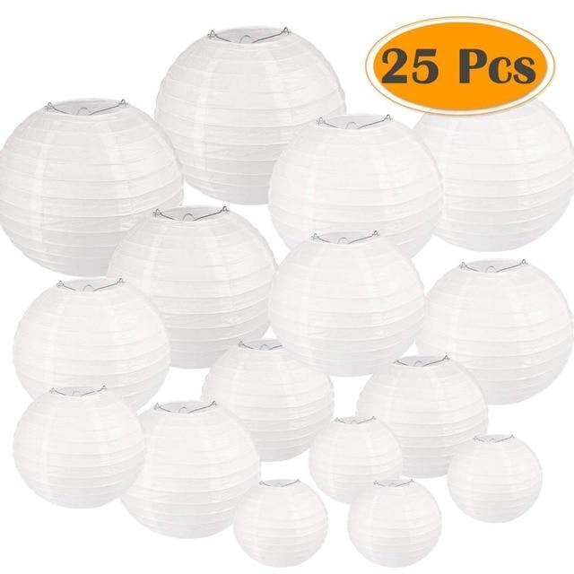 25 cái/bộ Trắng Đèn Lồng Giấy với Các Loại Kích Cỡ Vòng Giấy Đèn Lồng Trung Quốc Giấy đèn cốc Đám Cưới Đảng Treo Trang Trí Nội Thất Ủng Hộ