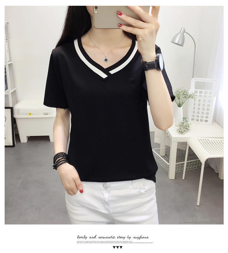 4XL 5XL Plus Size Korean Women's Clothing Fashion Big Size T-shirt Female V neck Short Sleeve Casual obesity Tee Shirt Top Femme 43