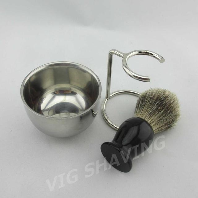 Shaving kits Double Stainlessshiny  shaving bowl  Mix badger shaving brush resin handle with metal stand ST301MIFE