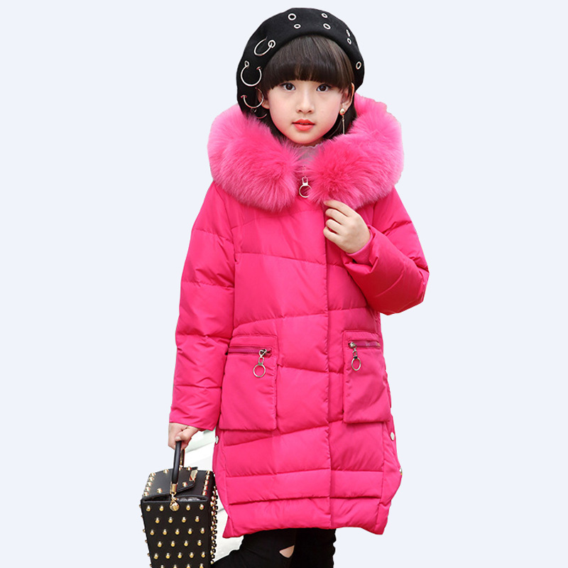 2017 girls down jacket duck down coat fur collar hooded long children outerwear parka thick warm girls overcoat DQ583 fur collar hooded girls duck down jackets children long patten coat kids thick warm snowsuit parka boys letter printed overcoat