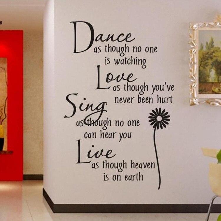 Decoración Del hogar Danza Amor Sing Live Wall Sticker Cita Calcomanías etiqueta