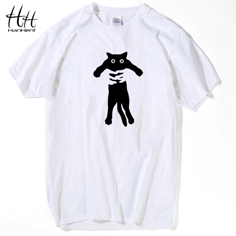 HanHent 100% Cotton Harajuku Cats   Shirt   Men   T     shirt   Japanese Style Tops Anime Tshirt Loose Short Sleeve Crew Neck White   T  -  shirt