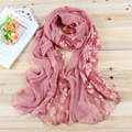 Vancol Brand Designer Big Large Size 180*80CM Pink White Plain Blue Yellow Flower Shawl Beach Chiffon 2016 Spring Lace Scarf