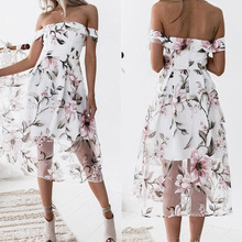 Women Summer Off Shoulder Dress Floral Printed Beach Dress Ladies Elegant Dress Party Vestidos Beachwear off shoulder allover printed shirred dress