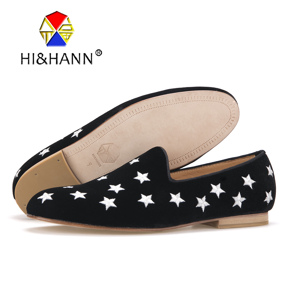 USA BRAND HI&HANN MEN'S BLACK VELVET SLIPPER WITH SILVER STAR EMBROIDERY AND LEATHER OUTSOLE FASHION PARTY AND WEDDING LOAFERS