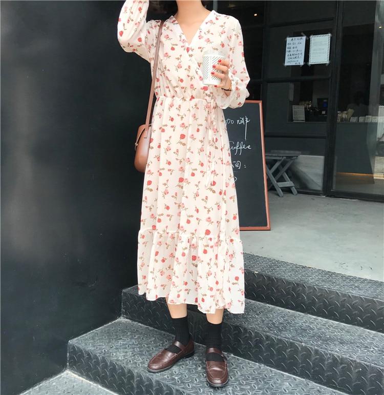 42b79f8c81b50 Mferlier Korean Style Spring Long Dress Lady Long Sleeve Sweet Retro Floral  Chiffon Dress Women's V Neck A Line Maxi Dresses