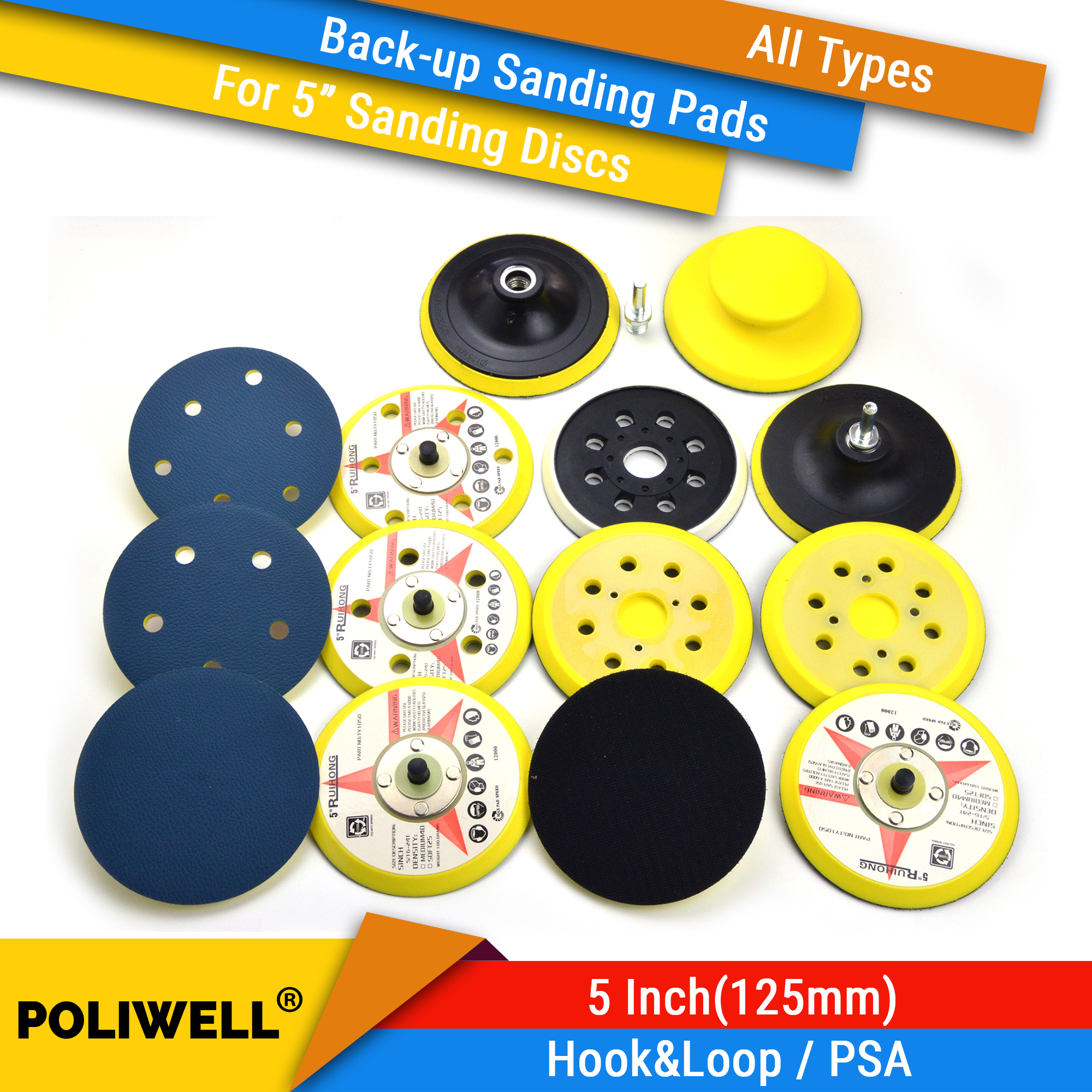 5 Inch(125mm) All Types Back-up Sanding Pads For Abrasive Sandpaper Sanding Discs For Woodworking Polishing Tool Accessories