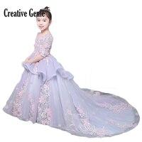 2018 Симпатичные с круглым вырезом для девочек в цветочек платья для свадеб Половина рукава Аппликации бальное платье для девочек; Новинка Ди