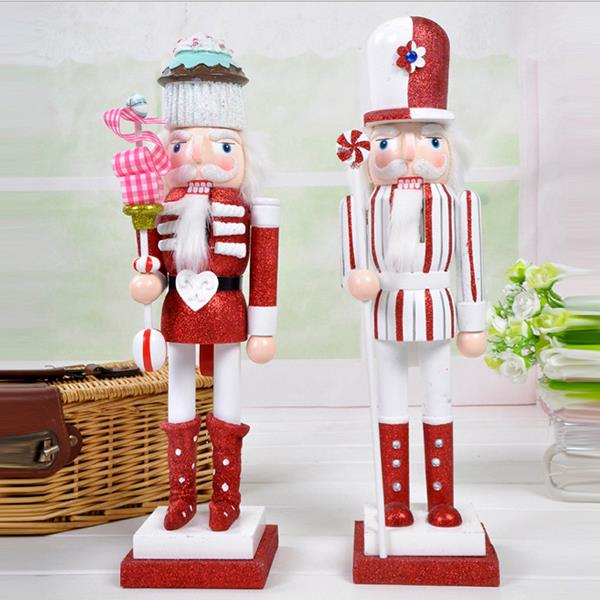 D331 Free shipping 38cm pure hand-painted cake Nutcracker puppet doll toy hand painted children Christmas gift,2pcs/lot ht025 free shipping movable doll puppets 13cm hardcover box painted walnut wooden nutcracker children christmas toy 2pcs lot