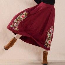 Женская хлопковая льняная юбка в этническом стиле, средняя талия, весна-осень, винтажная плиссированная юбка с цветочной вышивкой, Jupe Femme