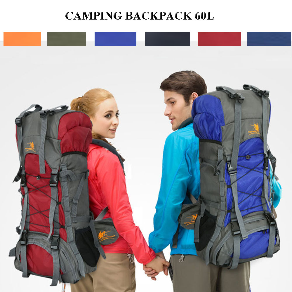 Nylon Waterproof Camping Backpack 60L Large Mountaineering Camping Hiking Bag Rucksack Women Men Traveling Bag trekking pack mat large 60l sports bag backpack men women nylon waterproof knapsack hiking camping outdoor travel rucksack back pack
