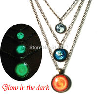 Glowing Jewelry Planet Necklace Full Moon Earth Solar System Necklace Glass Art Photo Jewelry Glow In