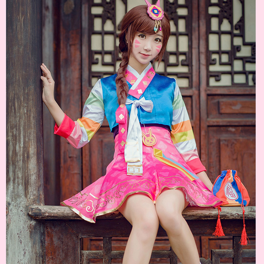 Fantasy Watch Over D V A Cosplay Suit Coat Dress Korean