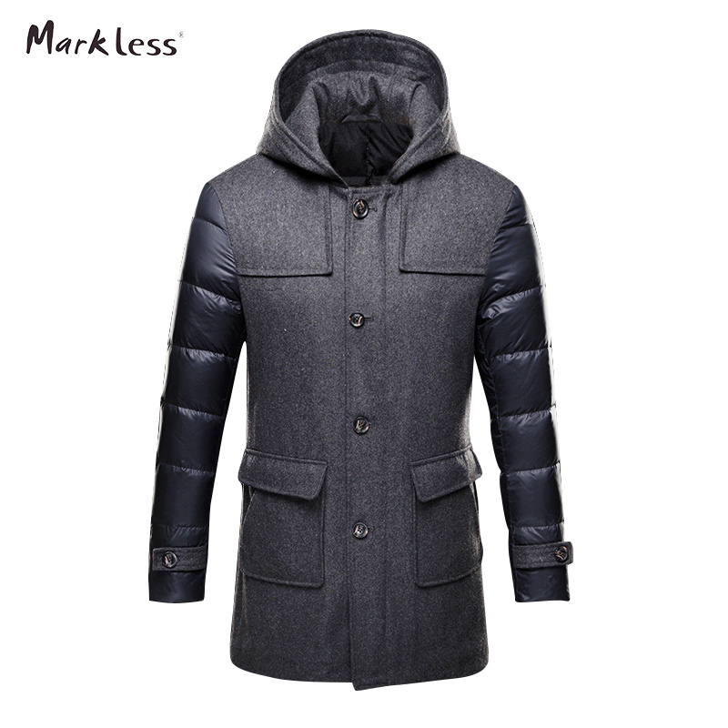 Markless 2016 Thick Long Down Park font b Men b font Brand Clothing font b Mens