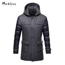 Markless 2016 Thick Long Down Park Men Brand Clothing Mens Casual Wool Spliced Hooded Down Jackets Man Fashion Winter Coat