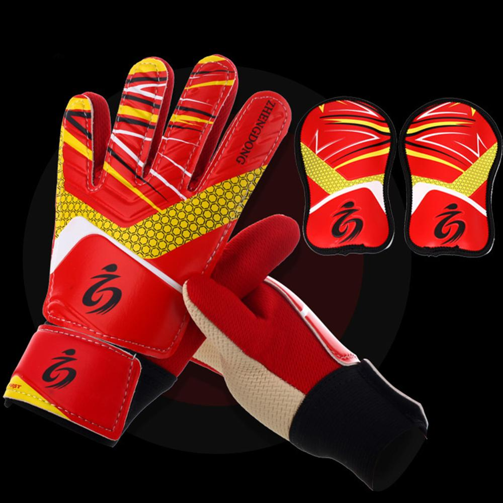 Youth Kids Soccer Goalkeeper Goalie Training Gloves Anti-Slip Breathable With Leg Guard Protector