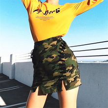 Autumn Winter A-line High Waist Suede Camouflage Skirt Women Solid Lace up Vintage Preppy Casual Mini Skirts Black Nude