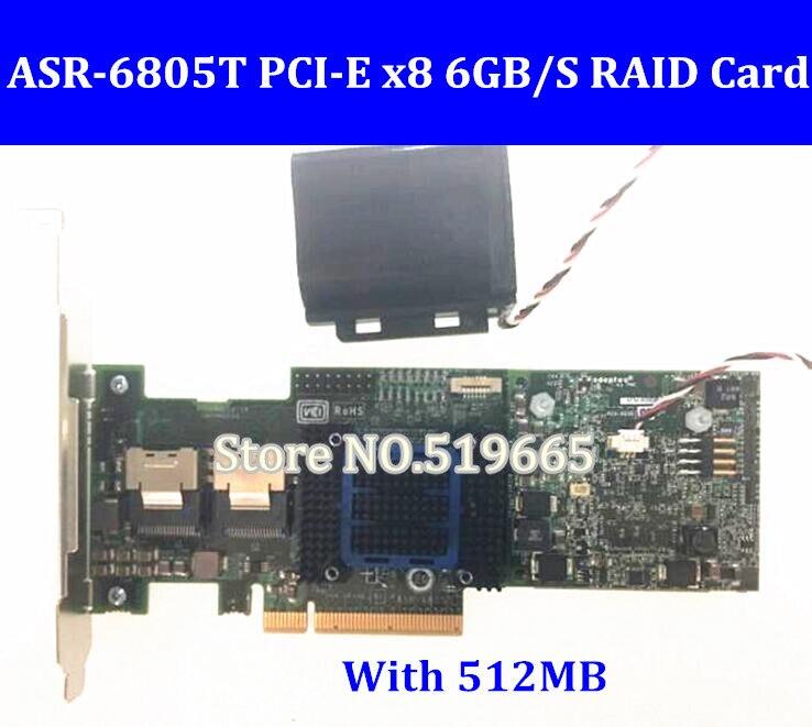 Alta qualidade Adaptec RAID 6805 t 2272800-R ASR-6805T 8-Port 6 Gb/s PCI-E2.0 X8 Controlador SAS Cartão RAID5 com 512 M RAM
