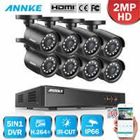 ANNKE 8CH HD 1080P Security Surveillance CCTV System 5in1 1080N Lite H.264+ DVR 8PCS HD TVI Smart IR Bullet Weatherproof Cameras