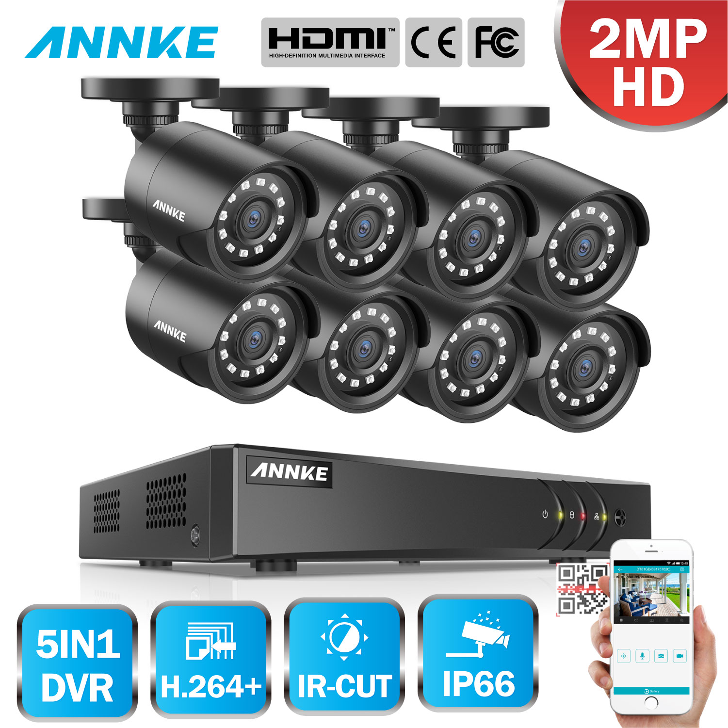 ANNKE 8CH HD 1080P Video Security Surveillance System 5in1 1080N H.264+ DVR 8PCS HD TVI Smart IR Bullet Weatherproof CCTV Camera
