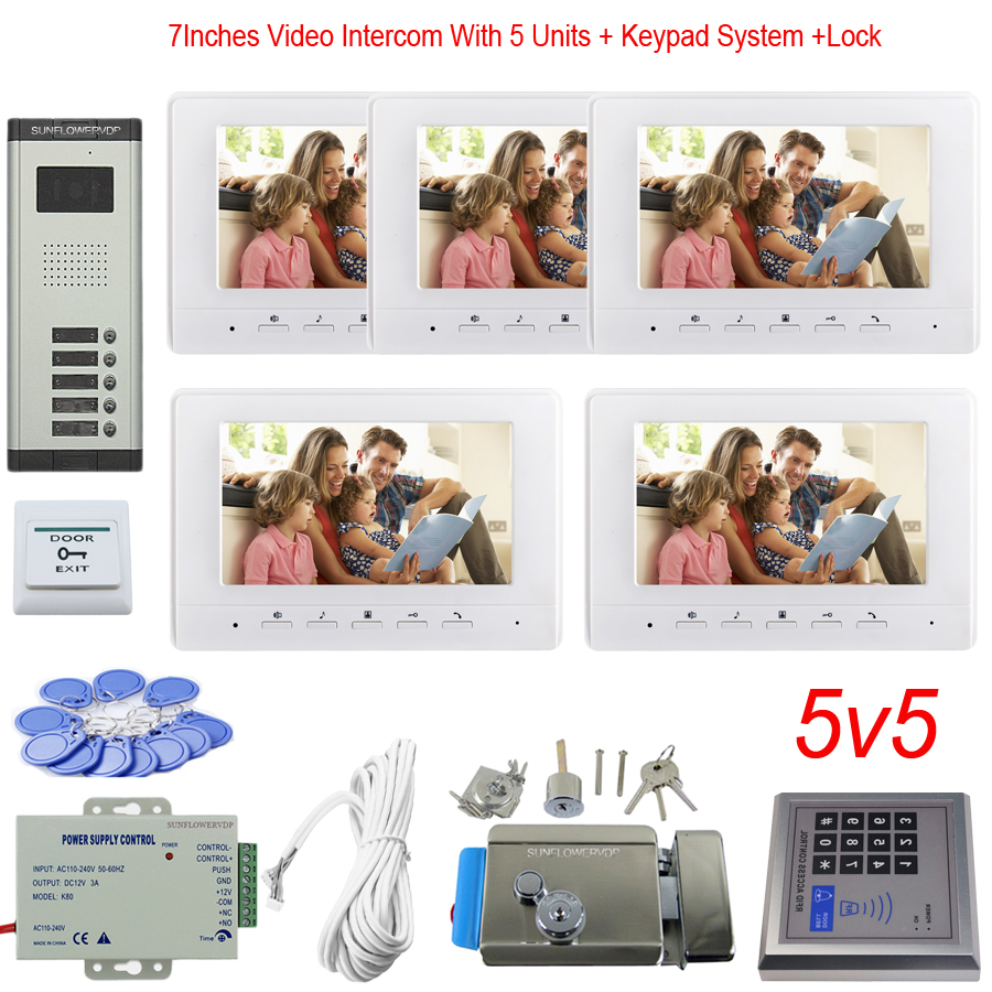 Access Control Keypad 5 Apartments Video Surveillance System Color 7