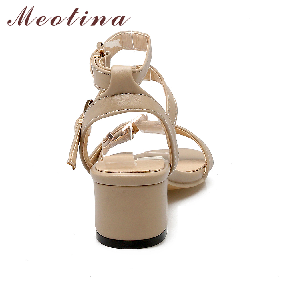 Meotina Shoes Women Summer Sandals Open Toe Thick Heels Buckle Strap Women Shoes Gladiator Sandals Black Beige Plus Size 10 43
