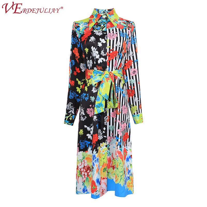 Career Women Runway Dress 2019 Fashion Spring Flowers Print Mid Calf A Line Slim OL Belt