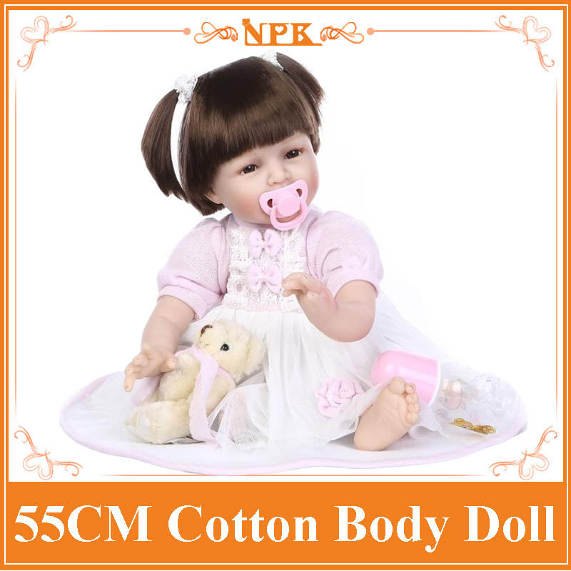 2017 Lastest 22inch 55cm Reborn-Baby-Doll With Happy Smile The Best Birthday Gift Lifelike Baby Dolls For Children Free Shipping