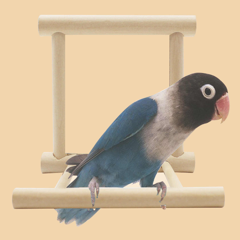Behogar птицу стойки окунь клетке деревянный играет Игрушки с зеркало для попугай волнистый Попугайчик попугай Finch Неразлучники попугай стенд