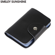 SMILEY SUNSHINE Genuine Leather Card Holder Business Credit Card id Holder Men Wallet Bank Card Case Women porte carte pashouder(China)