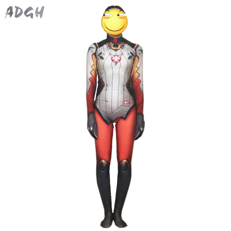 436110c96e9 OW Game Angela Cosplay Mercy long Sleeve Jumpsuit Woman Tight ...
