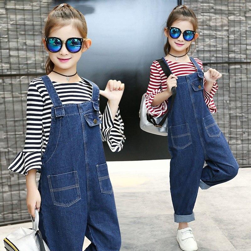 Dzieci odzież dziewczyny spodnie jeansowe ubrania garnitury jesień szkoła odzież paski koszulki z krótkim rękawem denim pończoch spodnie ustawia dziewczyny