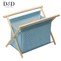 Random 1pc Wood Handle Woven Bag Knitting Needles Bag Storage Basket Handmade Fabric Sewing Tools Storage Box 41*33*25cm