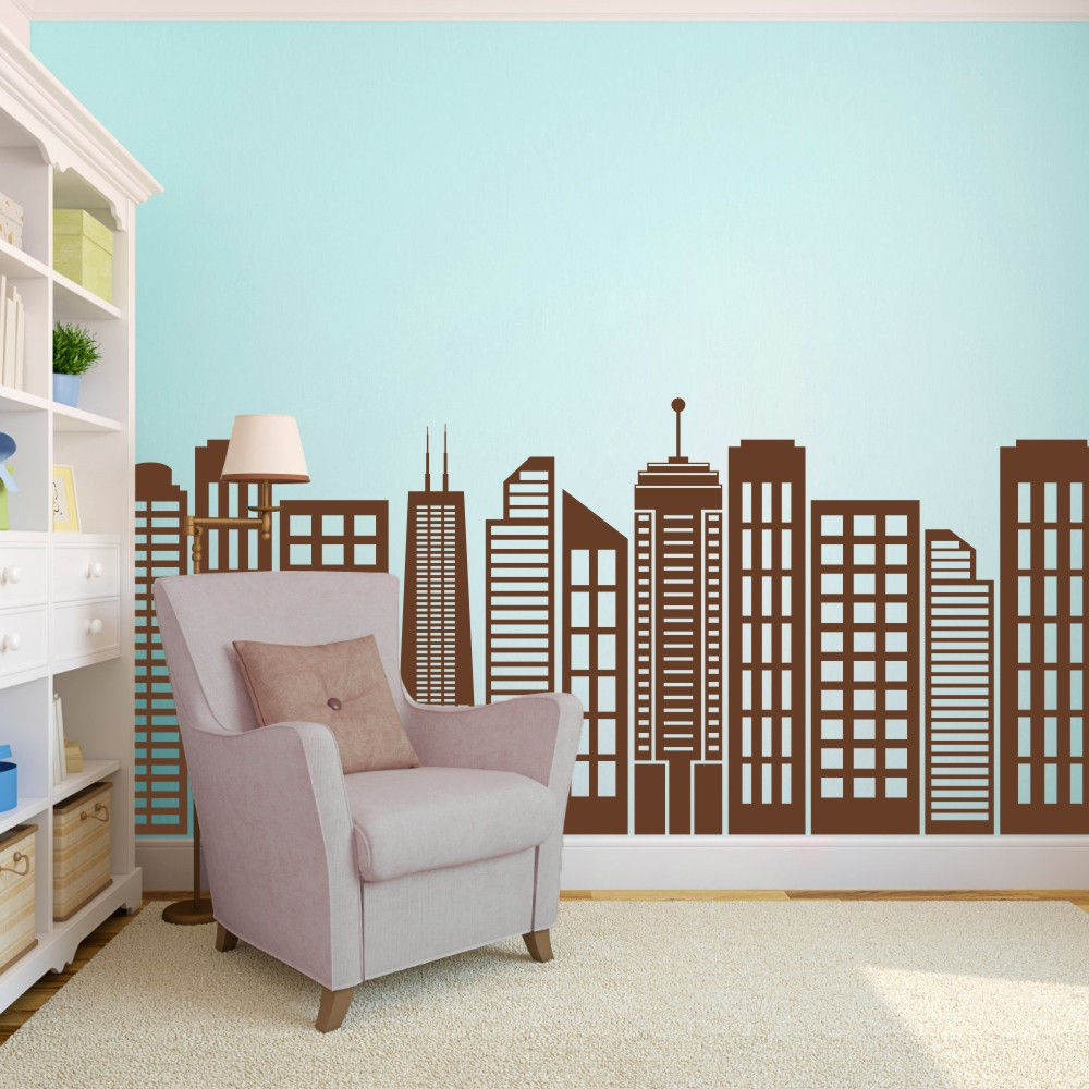 BATTOO Large handmade Wall Decor Simple Geometric City Skyline Silhouette - Home Wall Decal Window Vinyl Art Stickers