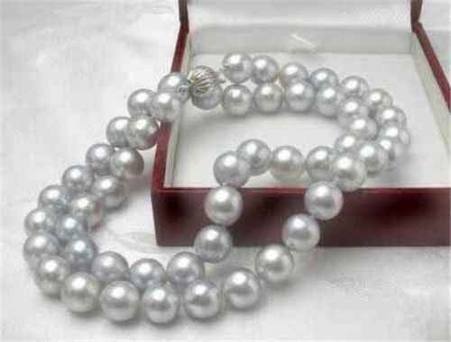 "Long 18"" 25"" 36"" 50"" 8mm Light gray Akoya Shell Pearl Necklace"