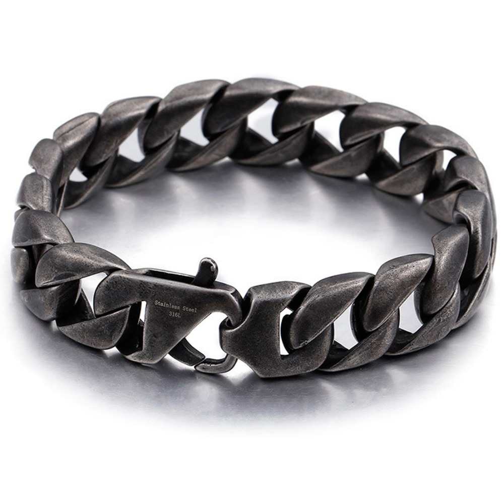 New Arrive 15mm Stainless Steel Black Brushed Miami Cuban Curb Chain Jewelry Men's Unisex's Bracelet Bangle 8.66″ Punk Jewelry