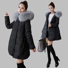 2017 Winter Hooded Big hair collar Casual Down jacket Medium long Slim Down  jacket Thick Warm Big yards Cotton jacket  AB76