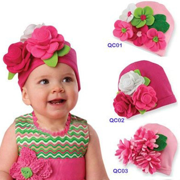 KIid Baby Girl Cap Hat Winter Warm Flower Headdress Beanie Earflap Hat