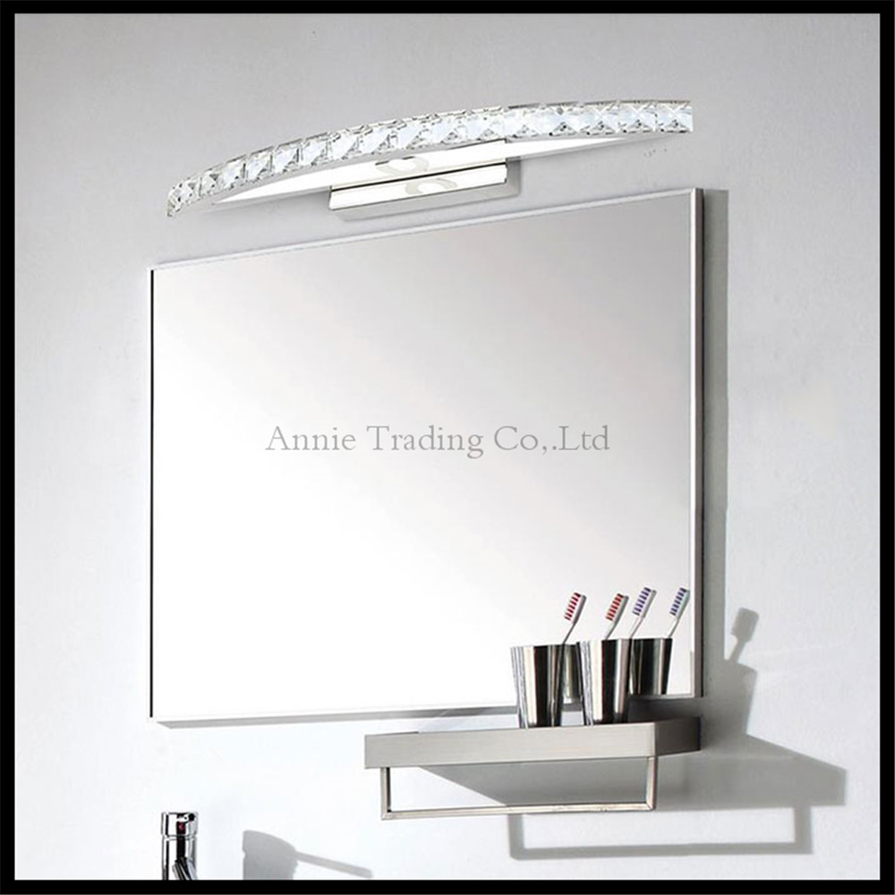 Crystal ledmirror light bubble crystal stainless steel bathroom mirror - 90v 265v 10w 44cm Crystal Led Mirror Lights Lamp Modern Cabinet Lights Led Dress Mirror