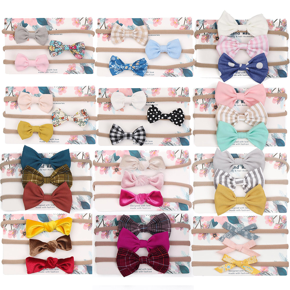 3 pcs/Set Baby Girls Headband Multi Colors Bow Knot Head Bandage Princess Kids Children Chic   Headwear   Hair Bands Accessories