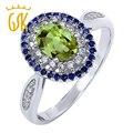 Gemstoneking sólido 925 anel de noivado de prata esterlina 1.40 cttw genuine oval verde peridot anel das mulheres