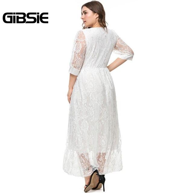 GIBSIE Plus Size Spring Summer Women V-Neck Half Sleeve Lace Long Dress Party Elegant Black White High Waist Dress Vestidos 2