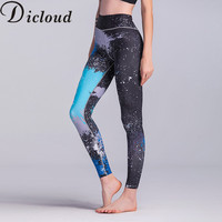 DICLOUD 2017 New Women Sporting Pants Series High Waist Tie Dye Printed Fashion Leggings Fitness Slim