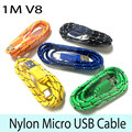 Hot 3ft/1M Durable Braided Micro USB Cable Coiled Charger Data Sync Cable Cord For Samsung Galaxy Cell phones 8 Colors Available